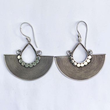 ER 14723-(UNIQUE 925 BALI SILVER TWISTED WIRED ARMADILLO EARRINGS)